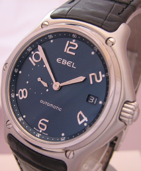 Ebel 1911 Senior Automatic Watch, Blue Dial With Leather Strap