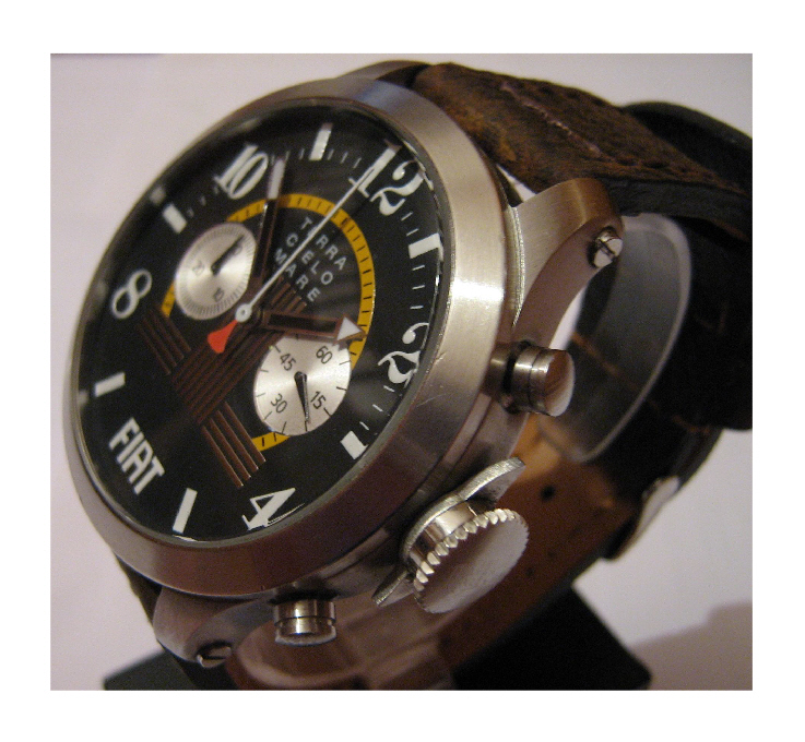 Fiat 1100S Automatic Chronograph, Black Dial With Leather Strap
