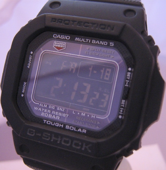 Casio G Shock Atomic Solar Negative Display, Black Dial