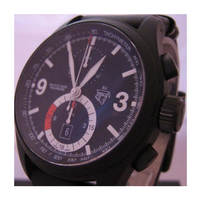 Glycine Black Jack Chronograph, Black Dial With Leather Strap