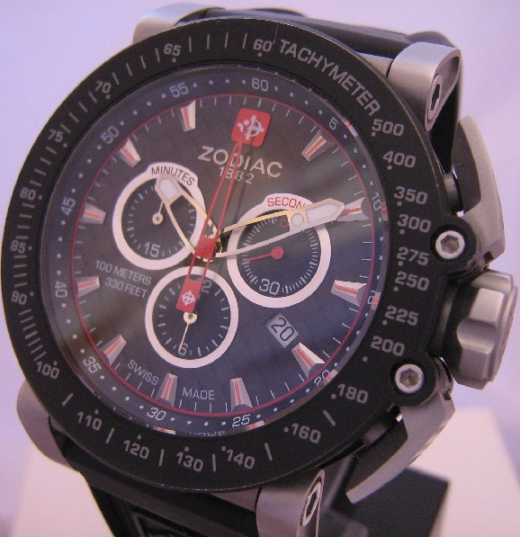 Zodiac ZMX02 Racer Chronograph, Black Dial With Rubber Strap