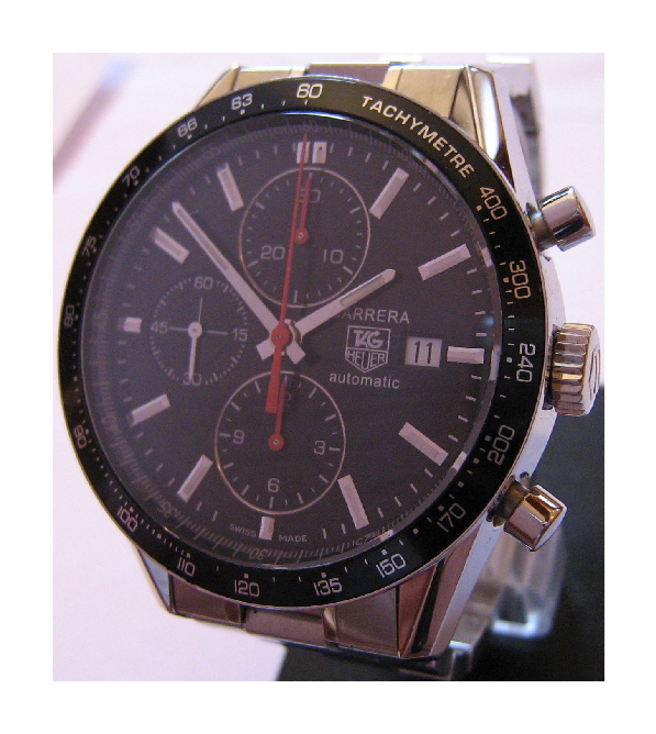 Used Tag Heuer Carrera Chronograph, Black Dial With Stainless Steel Bracelet