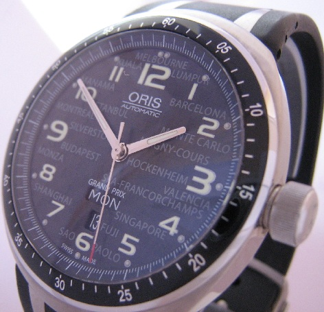 Oris TT3 Grand Prix Ltd Edition, Black Carbon Dial, Rubber Strap