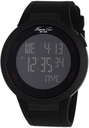 Kenneth Cole Touchscreen Multifunction, Black Dial, Rubber Strap