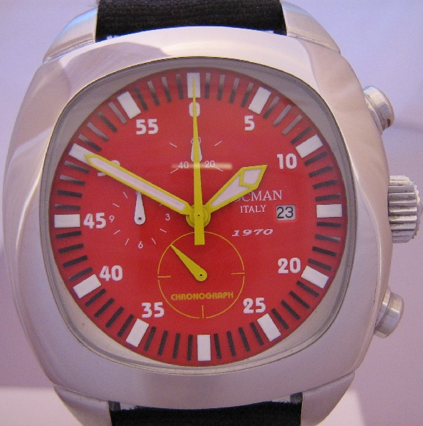 Locman 1970 Chronograph, Red Dial With Black Strap