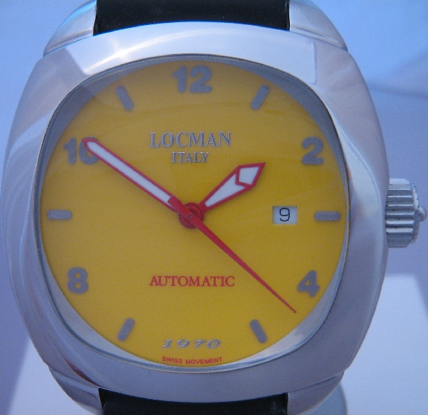 Locman 1970 Automatic Watch, Yellow Dial With Rubber Strap