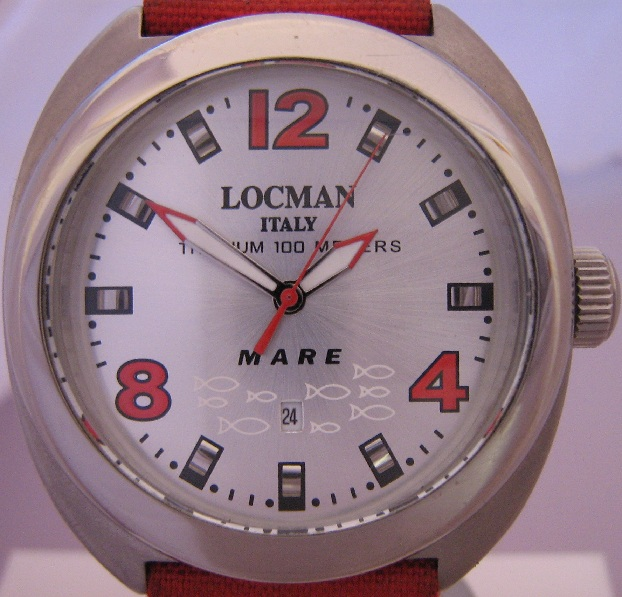 Locman Mare Titanium Watch, Silver Dial With Red Strap