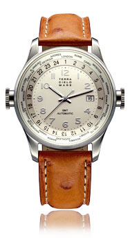 Worldwide GMT Automatic Watch, Silver Dial With Leather Strap