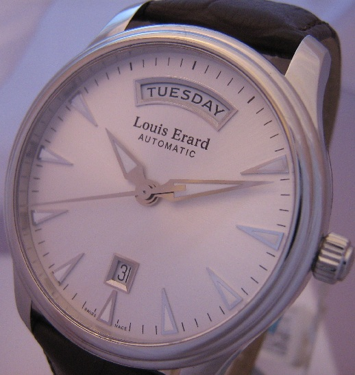 Louis Erard Heritage Day Date, Silver Dial With Leather Strap