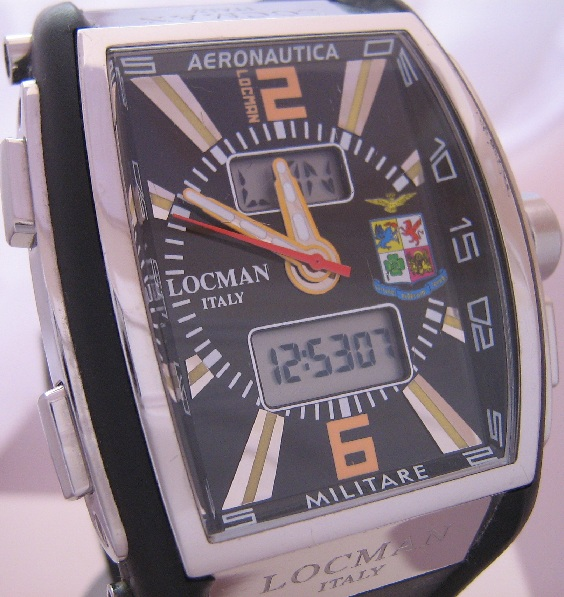 Locman Tremila Aeronautica Watch, Black Dial, Rubber Strap