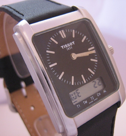 Tissot Analogue Digital Watch, Black Dial, Leather Strap