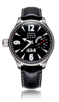 Mancino Sorci Verde Hand Winding Watch, Black Dial With Leather Strap