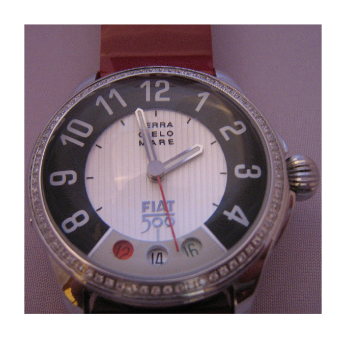 Fiat 500 Diamonds Watch, White Dial With Red Leather Strap