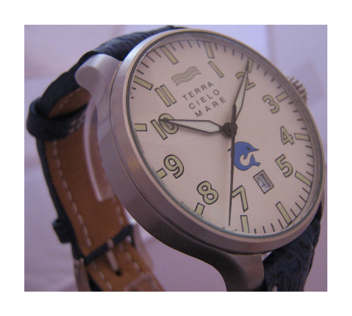 Sea First 44 Date Automatic Divers Watch, White Dial With Leather Strap