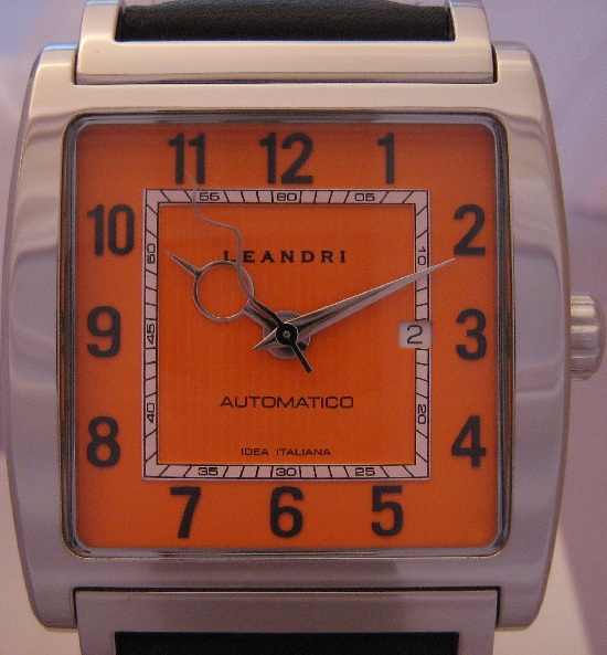 Leandri Square Automatic, Orange Dial With Leather Strap