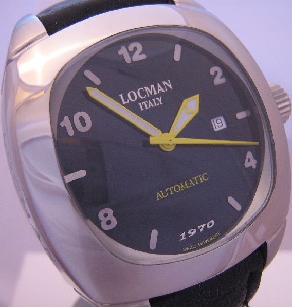 Locman 1970 Automatic Watch, Black Dial With Leather Strap
