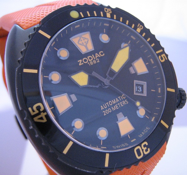 Zodiac Oceanaire, Black Dial With Orange Rubber Strap