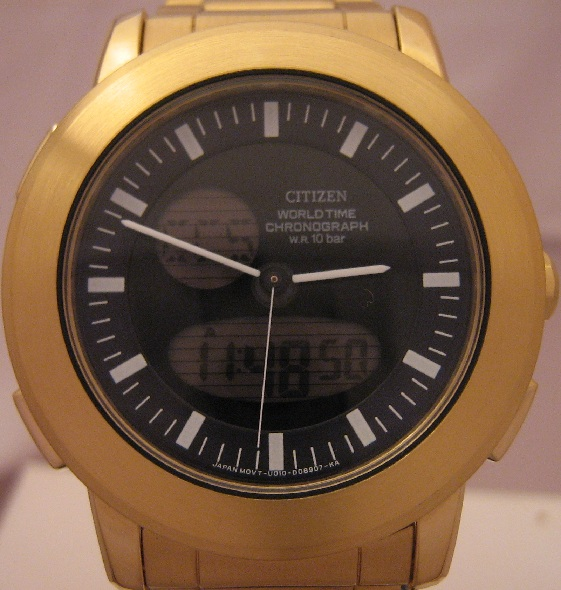 Citizen Alterna Worldtime, Black Dial, Gold IP Bracelet