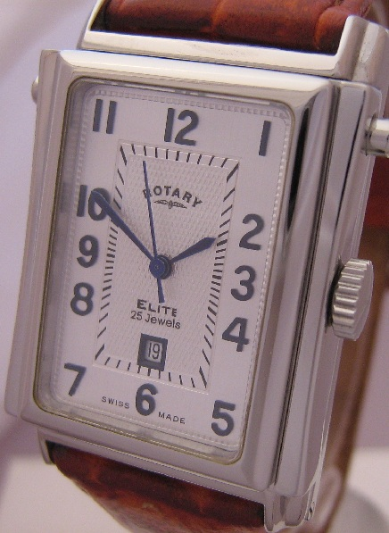 Rotary Elite Hinged Automatic, Silver Dial, Leather Strap