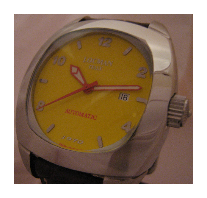 Locman 1970 Automatic Watch, Yellow Dial With Leather Strap