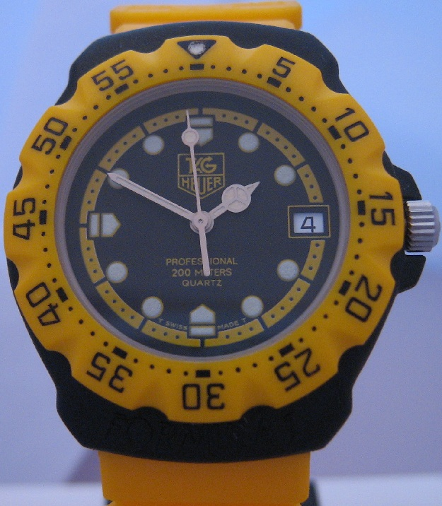 Vintage Tag Heuer F1, Black Dial With Yellow Strap
