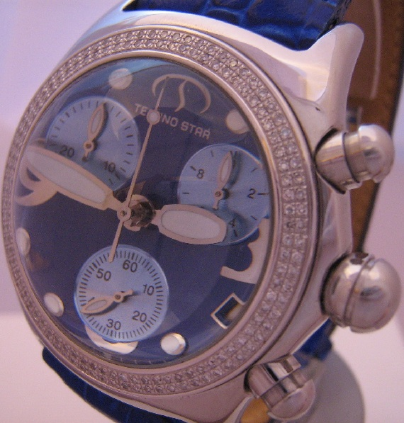 Techno Star Diamond Bubble Chronograph, Blue Dial With Leather Strap