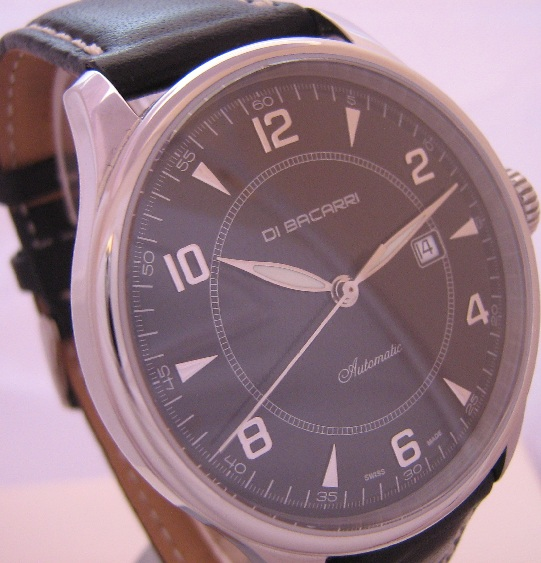 Di Bacarri Automatic Watch, Black Dial With Leather Strap