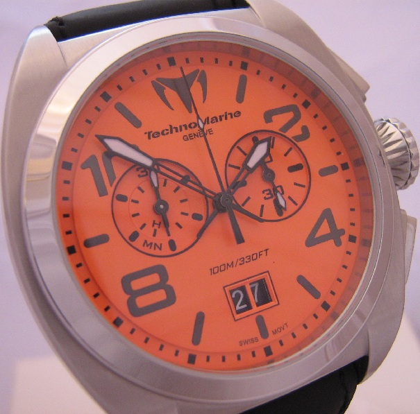 Technomarine US Navy Chronograph, Orange Dial, Leather Strap