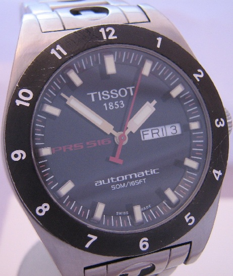 Tissot PRS 516 Automatic, Black Dial With Steel Bracelet