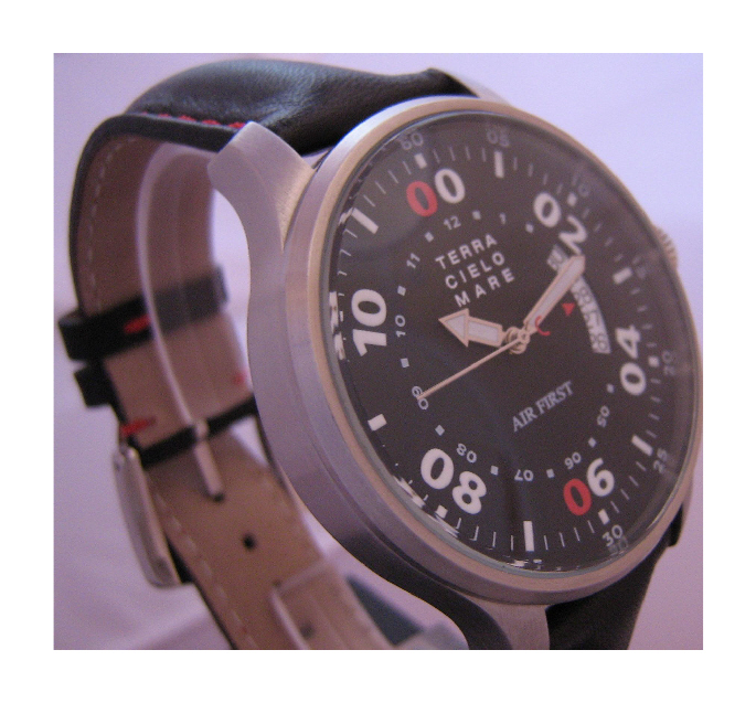 Vertical Date Automatic Watch, Black Dial With Leather Strap