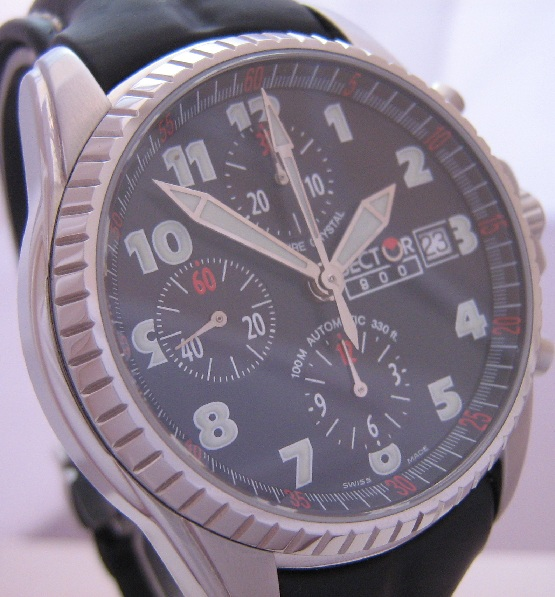 Sector 800 Automatic Chronograph, Black Dial With Black Leather Strap
