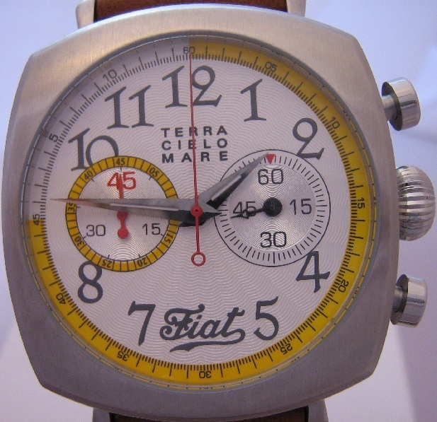 TCM Fiat Football Chronograph, White Dial With Leather Strap