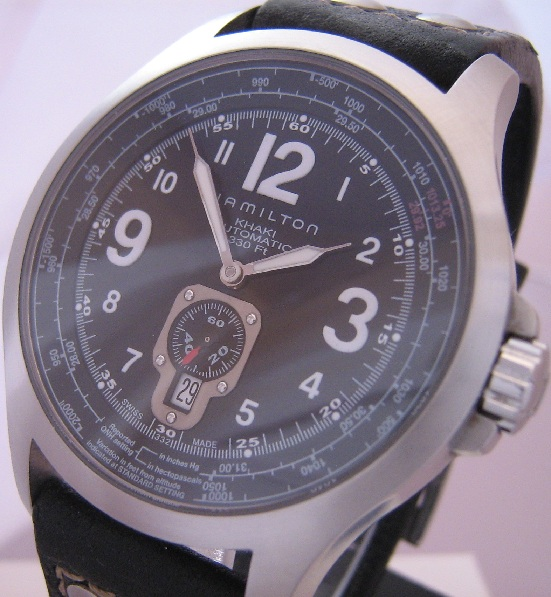Hamilton Khaki QNE Automatic, Black Dial With Leather Strap