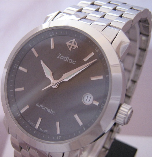 Zodiac Automatic Watch, Black Dial With Steel Bracelet