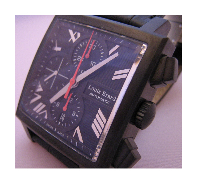 Louis Erard La Carree Automatic Chronograph, Black Dial With Leather Strap