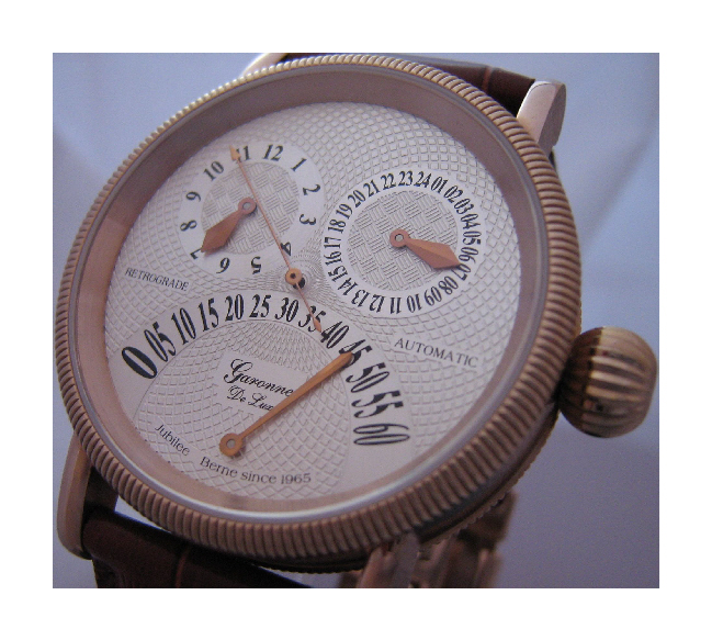 Garonne Deluxe Jubilee Retrograde Watch, Silver Dial With Leather Strap