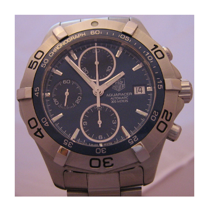 Tag Heuer Aquaracer Chronograph, Blue Dial With Stainless Steel Bracelet