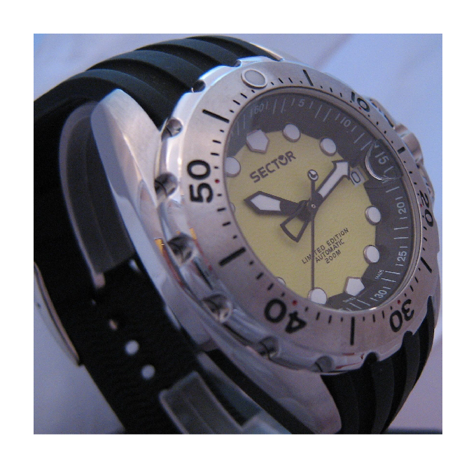 Sector 600 Limited Edtion Automatic Divers Watch, Yellow Dial With Rubber Strap