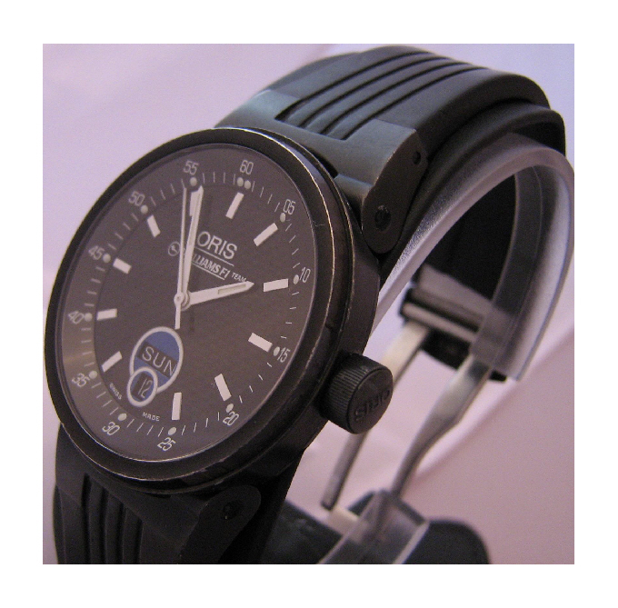 Oris Williams Team Day/Date Watch, Black Dial With Black Rubber Strap