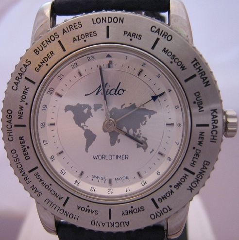 Mido Worldtimer, Silver Dial With Blue Leather Strap