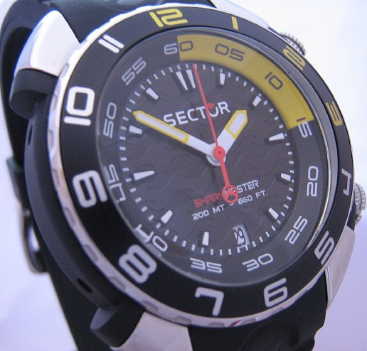 Sector Sharkmaster Divers Watch, Black Dial With Rubber Strap
