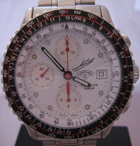Certina Alex Criville Chronograph, White Dial With Steel Bracelet