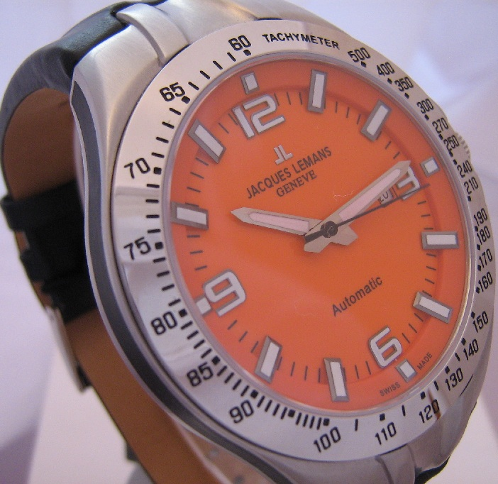 Jacques Lemans Tornado Automatic, Orange Dial With Leather Strap