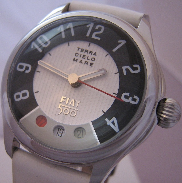 Fiat 500 Automatic Watch, White Dial With Leather Strap