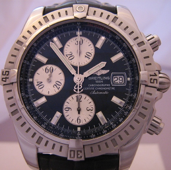 Breitling Chronomat Evolution, Black Dial With Leather Strap