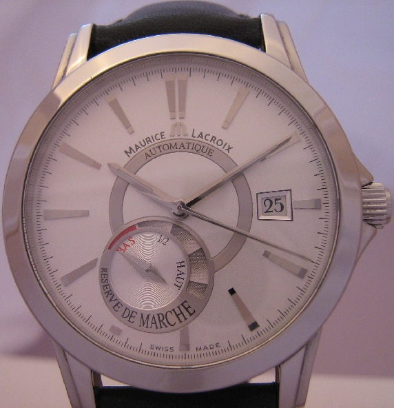 Maurice Lacroix Pontos Reserve De Marche, SIlver Dial With Leather Strap