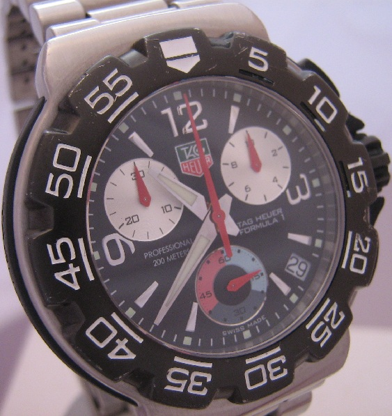 Tag Heuer F1 Chronograph, Black Dial With Steel Bracelet