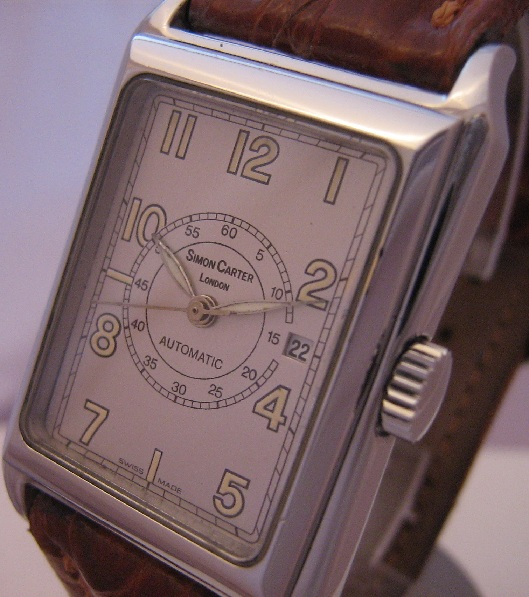 Simon Carter Automatic Tank Watch, Silver Dial With Leather Strap