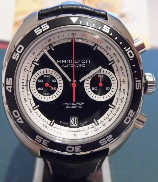 Hamilton Pan Europ Chronograph, Black Dial, Leather Strap