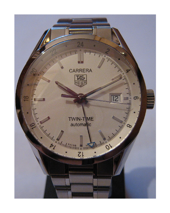 Used Tag Heuer Carrera Twin Time, White Dial, Stainless Steel Bracelet